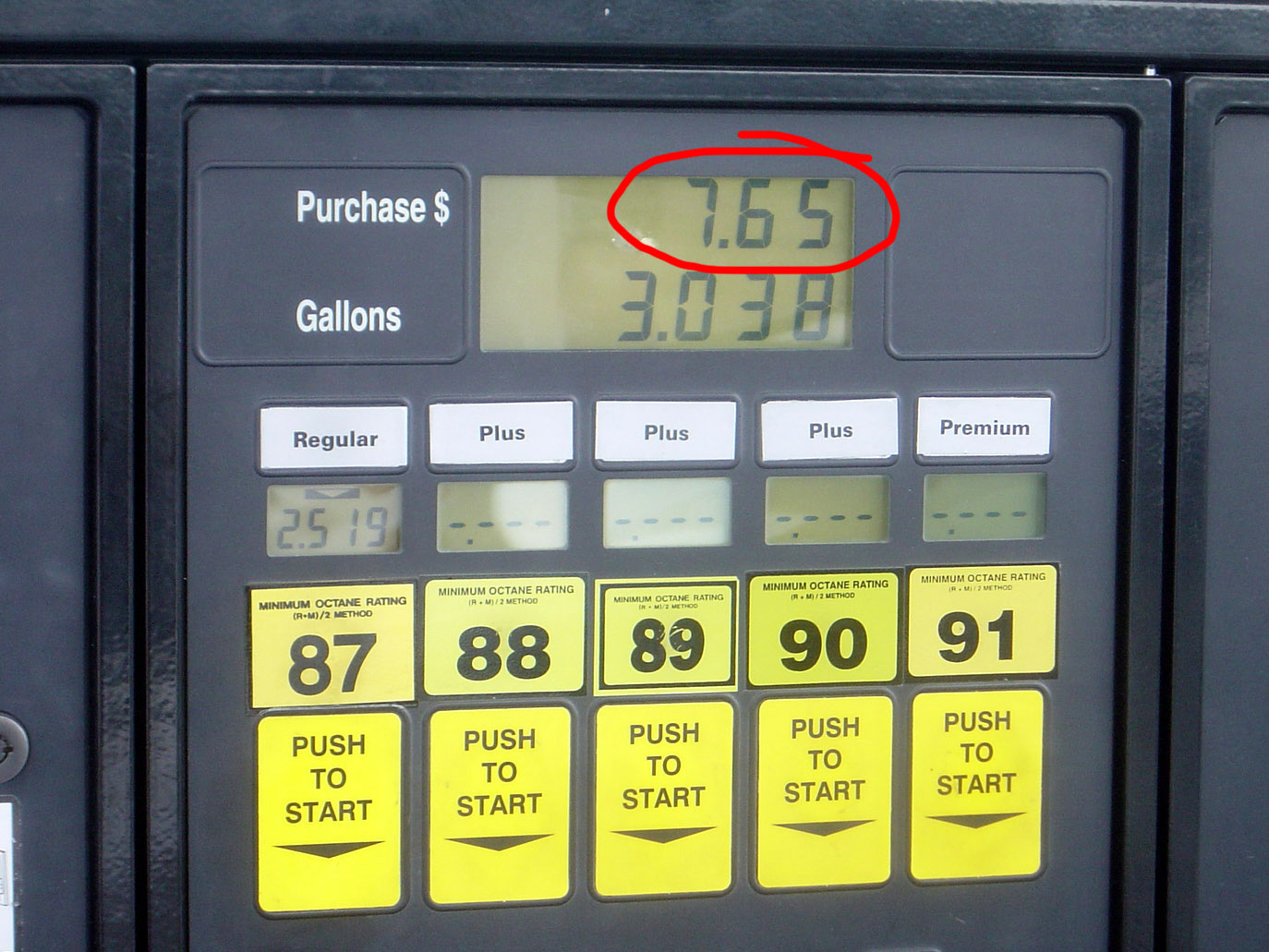 Taking a picture of the gas pump is a funny receipt.