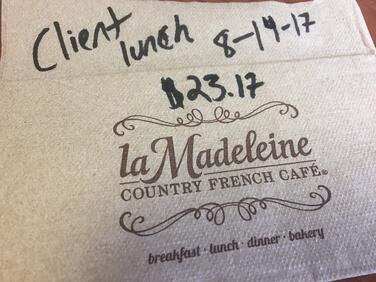 Client lunch on napkin with date and total is a receipt fail.